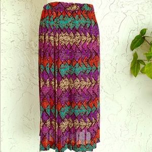 Dresses & Skirts - Breezy Vintage Pleated Stained Glass Panes Skirt